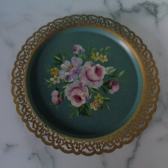 Vintage Hand Painted Floral Metal Tray
